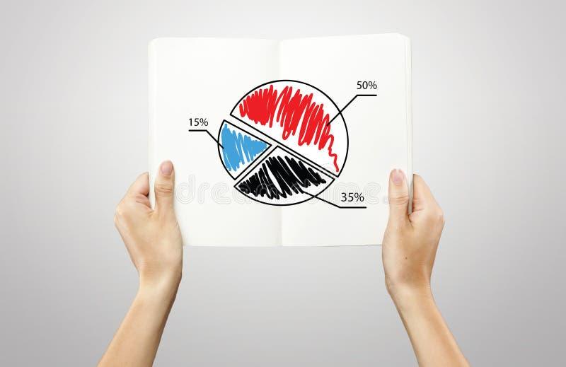 Handen die een notitieboekje met cirkeldiagramgrafiek houden royalty-vrije stock fotografie
