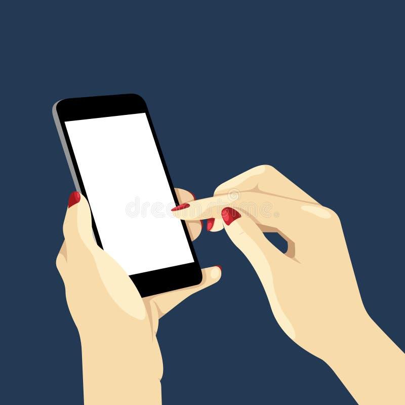 Handen die een Slimme Telefoon in Dark houden royalty-vrije illustratie