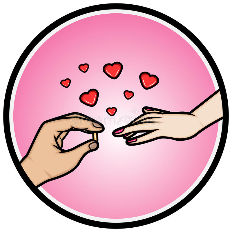 Handen die een trouwring plaatsen op een vinger vector illustratie