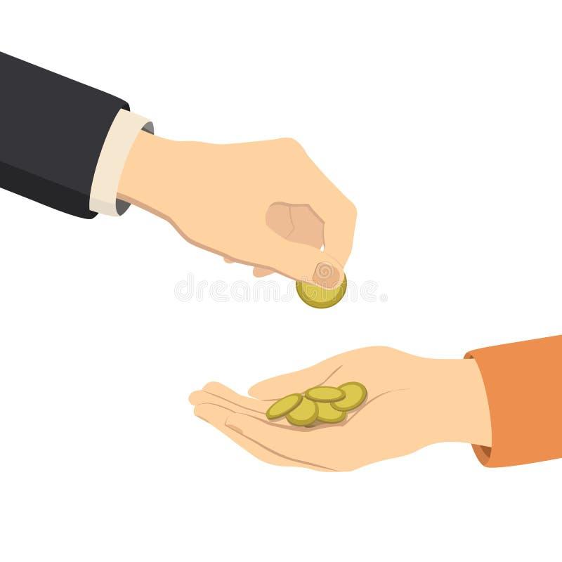 Handen die en geld, vector geven ontvangen royalty-vrije illustratie