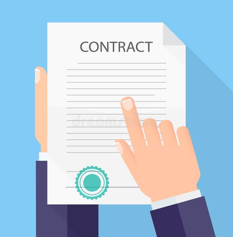 Handen die en van de bedrijfs contract vlak stijl concept houden lezen vector illustratie