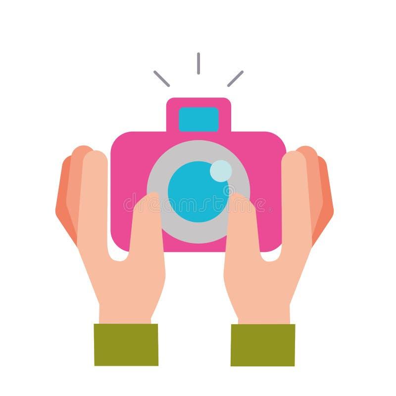 Handen die fotografisch cameragadget houden royalty-vrije illustratie
