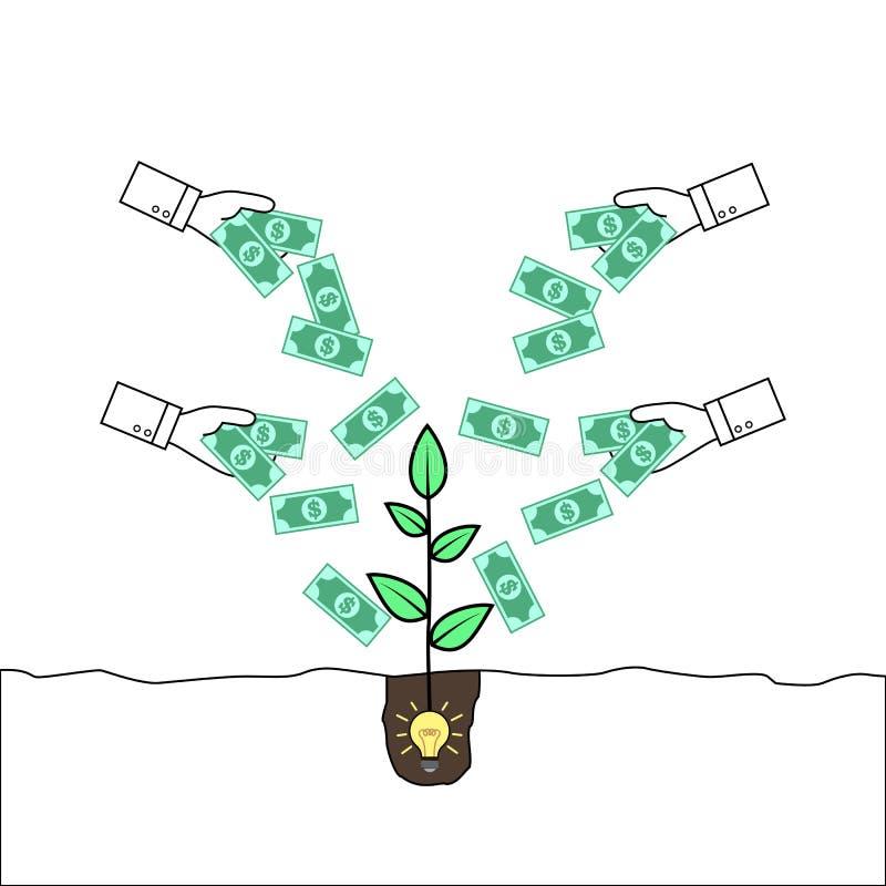 Handen die geld geven aan een installatie die uit een ideebol te voorschijn komen vector illustratie