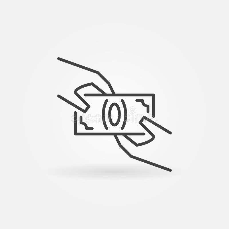 Handen die geldpictogram houden vector illustratie