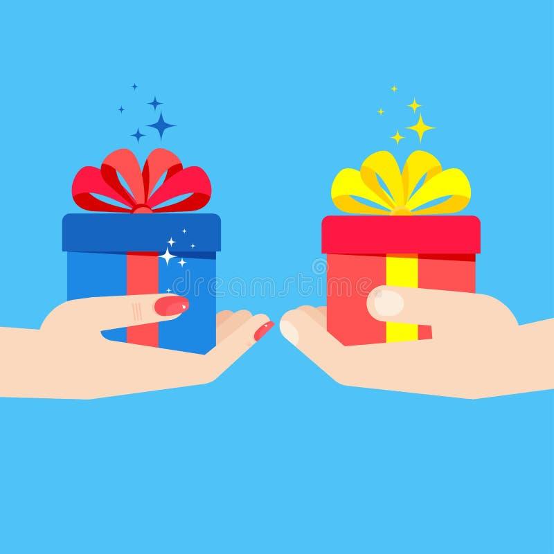 Handen die giftman vrouw houden royalty-vrije illustratie