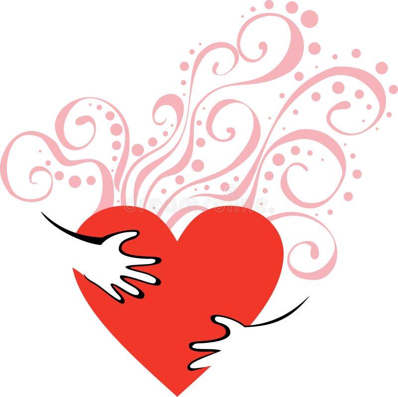 Handen die hart koesteren royalty-vrije illustratie