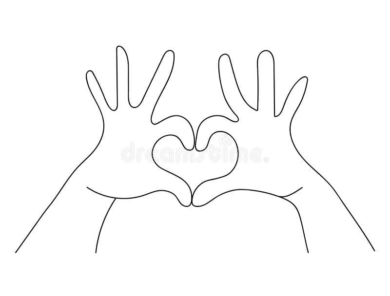 Handen die hart maken het concept van het liefdeteken gestalte geven stock illustratie