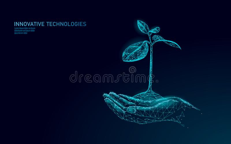 Handen die het ecologische abstracte concept van de installatiespruit houden 3D geef de bladeren van de zaailingsboom terug Spare stock illustratie