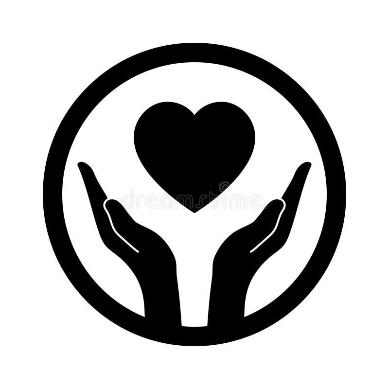 Handen die het hart beschermen stock illustratie