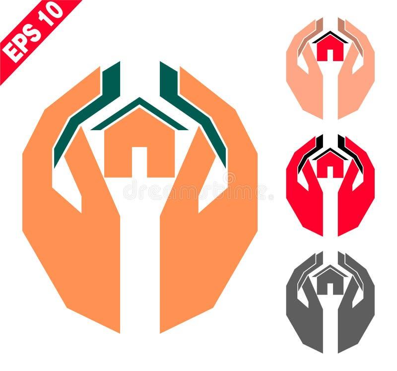 Handen die het huis houden royalty-vrije illustratie