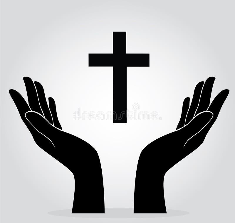 Handen die het kruis houden royalty-vrije illustratie