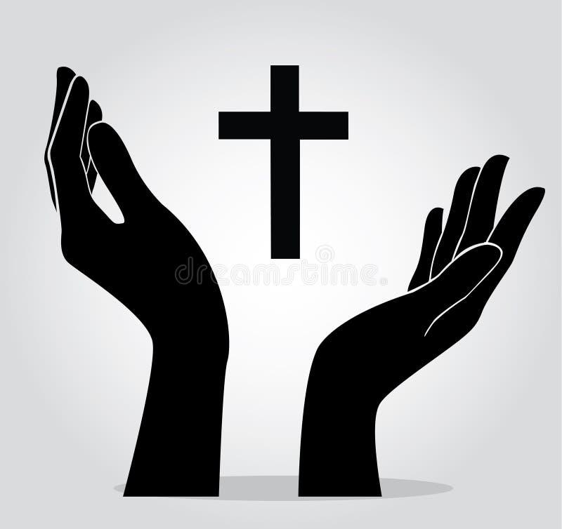 Handen die het kruis houden vector illustratie