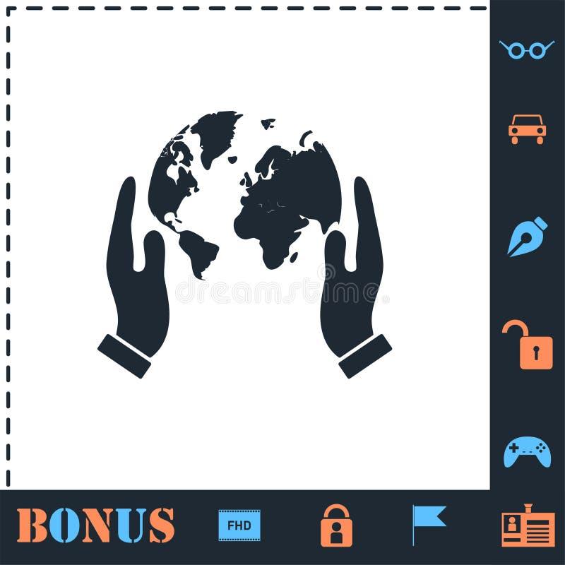 Handen die het pictogram van de bolaarde vlak houden vector illustratie