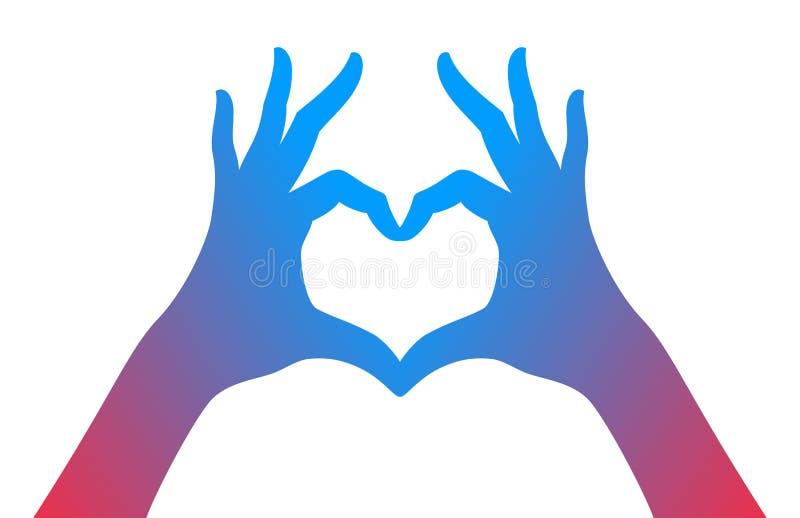 Handen die het symbool van het liefdehart maken royalty-vrije illustratie