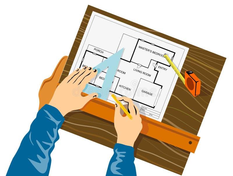 Handen die huisplan trekken vector illustratie