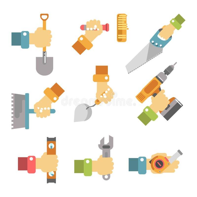 Handen die hulpmiddelen kleurrijke vectoraffiche op wit houden vector illustratie