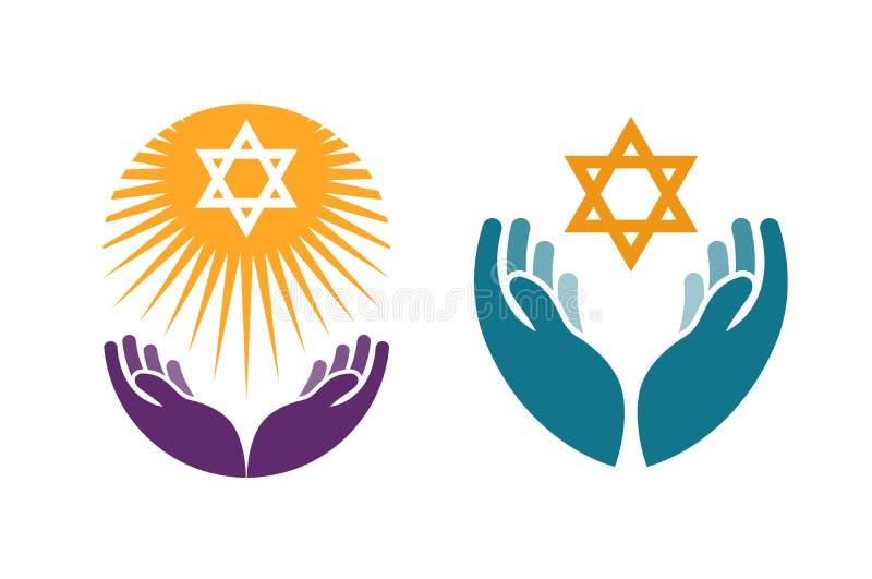 Handen die Jodenster houden Pictogram of symboolvector royalty-vrije illustratie
