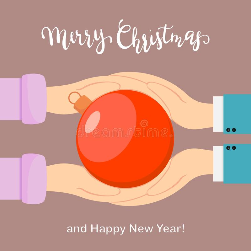 Handen die Kerstmisbal houden royalty-vrije illustratie