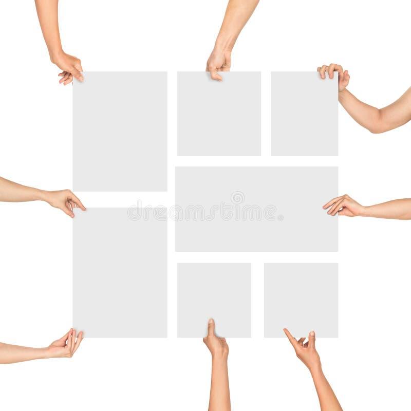 Handen die lege bladen van document vorm houden royalty-vrije stock foto's