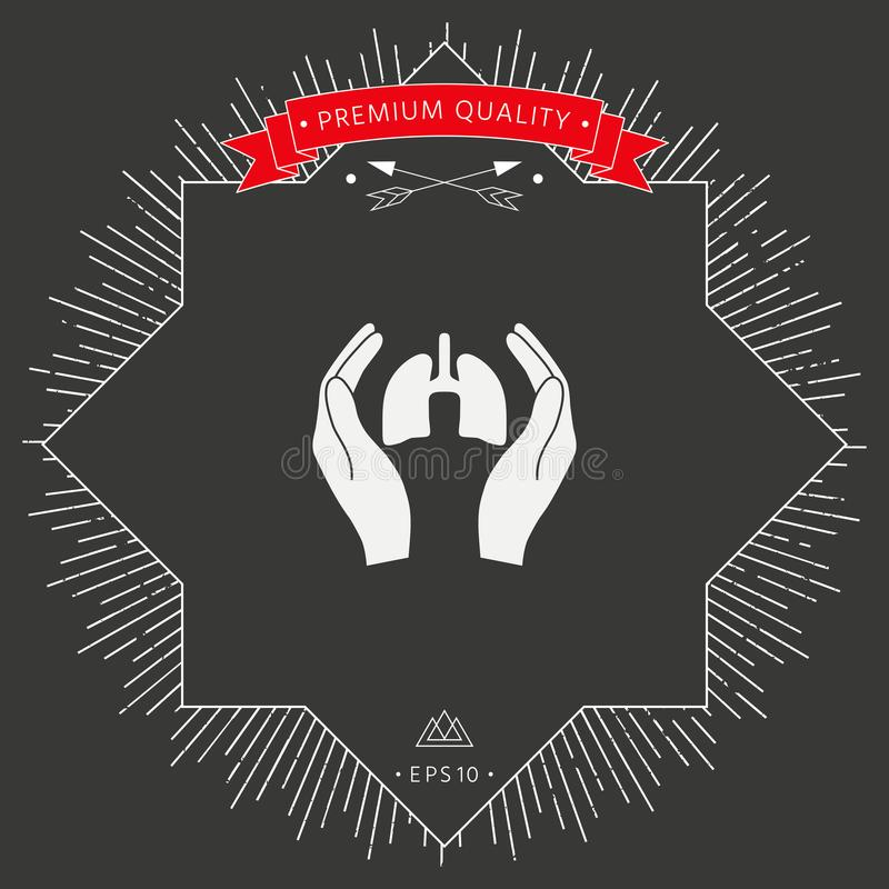 Handen die longen houden - beschermingspictogram royalty-vrije illustratie