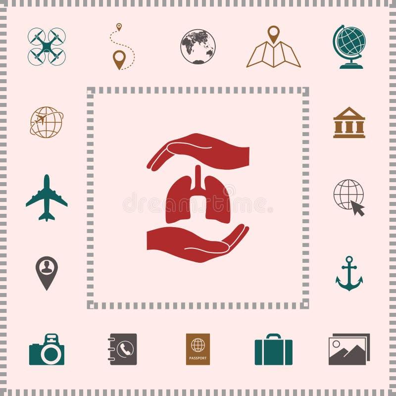 Handen die longen houden - beschermingssymbool Elementen voor uw ontwerp stock illustratie