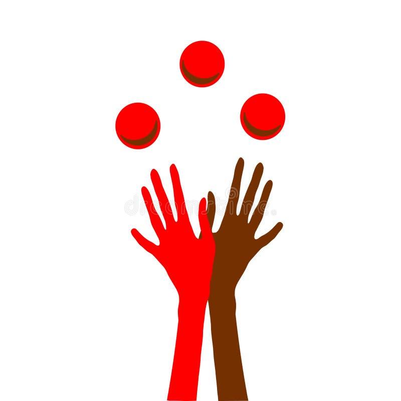 Handen die met ballen jongleren met stock illustratie