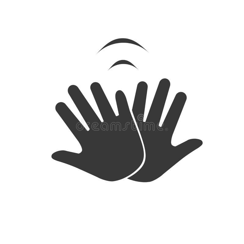 Handen die met een hoog vijf pictogram, vectordieillustratie vieren op witte achtergrond wordt geïsoleerd royalty-vrije illustratie