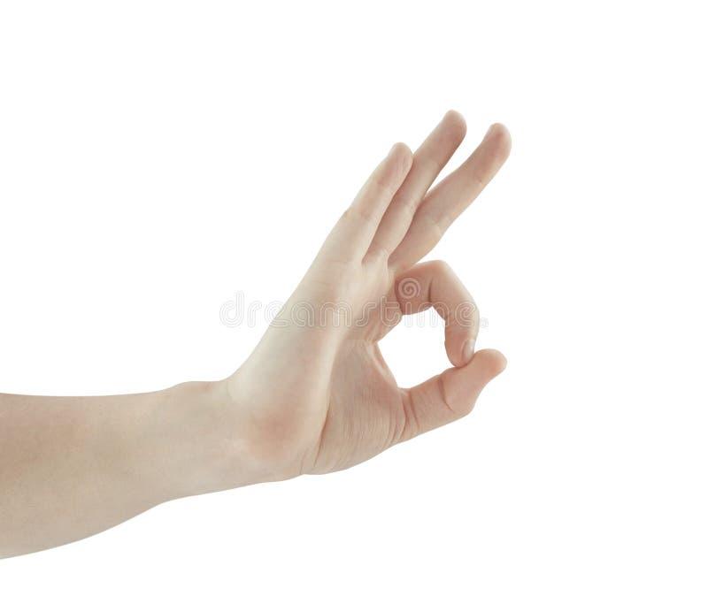 Handen die o.k. teken tonen stock afbeeldingen