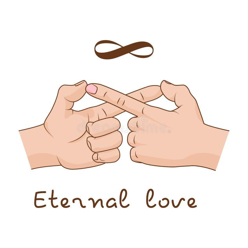 Handen die oneindigheidssymbool maken Eeuwige liefde en vriendschap Vector illustratie royalty-vrije illustratie
