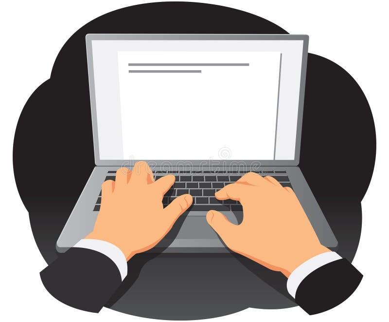 Handen die op toetsenbord typen