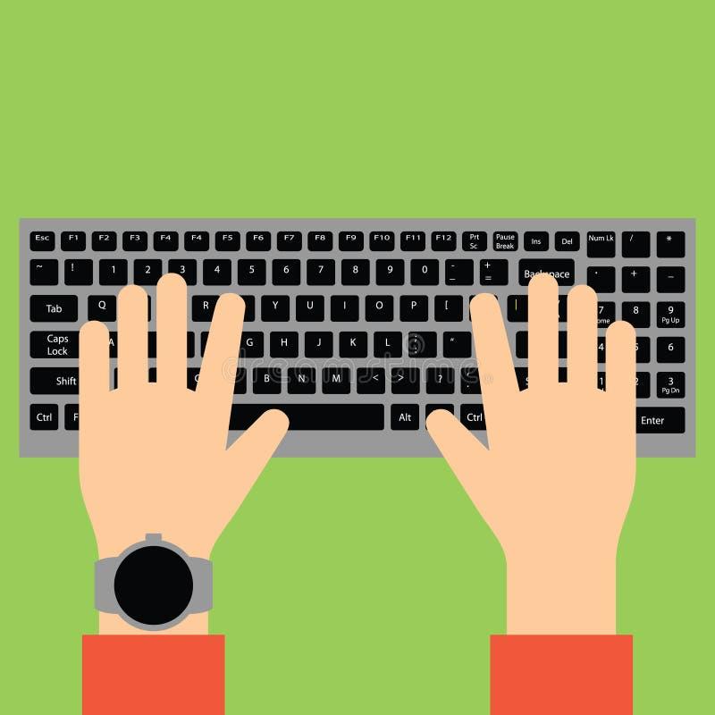 Handen die op toetsenbord typen vector illustratie