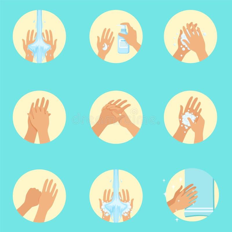 Handen die Opeenvolgingsinstructie, Infographic-Hygiëneaffiche voor de Juiste Procedures van de Handwas wassen stock illustratie