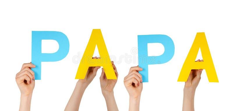 Handen die pa houden stock afbeeldingen