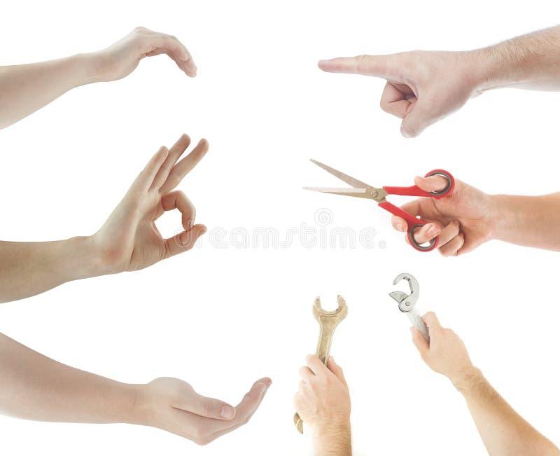 Handen die punten gebruiken stock afbeeldingen