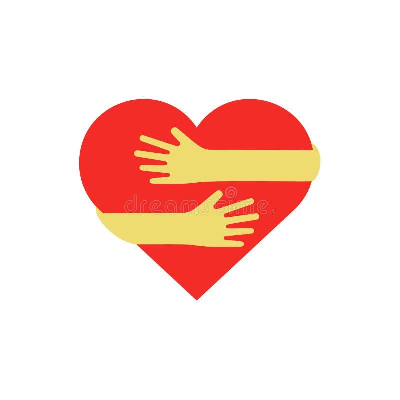 Handen die rood hart koesteren royalty-vrije illustratie