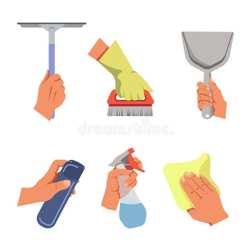 Handen die schoonmakende hulpmiddelen en producten vectoraffiche houden stock illustratie