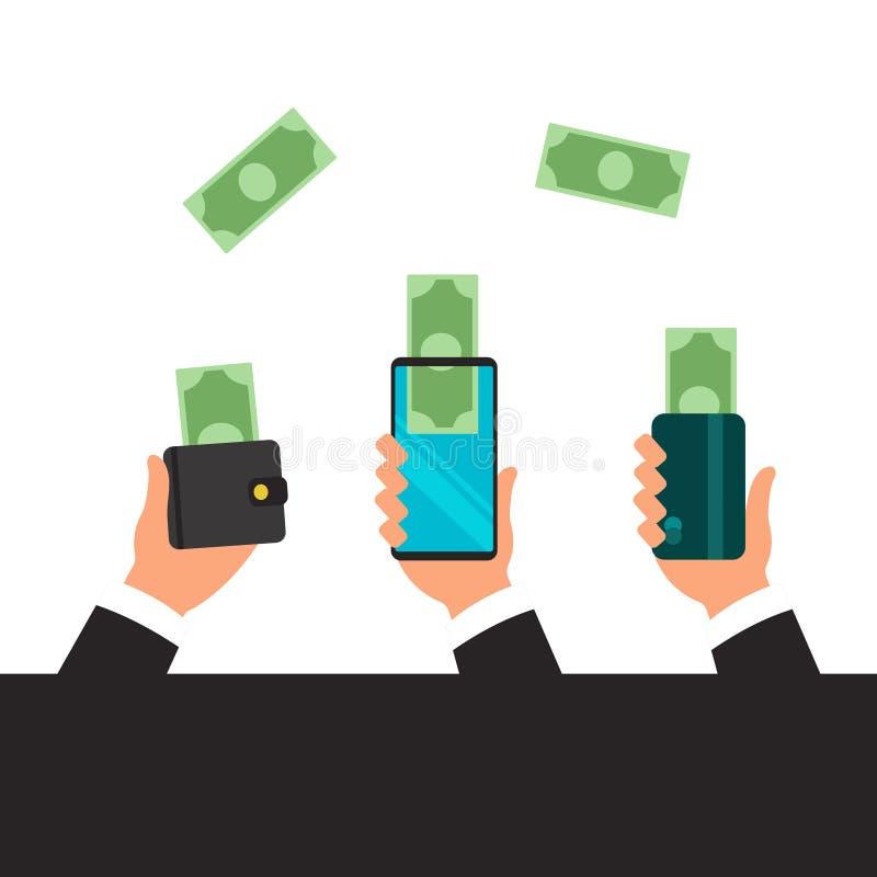 Handen die slimme telefoon houden Bankwezenbetaling apps Mensen die en geldradio met mobiele telefoons verzenden ontvangen vlak stock illustratie