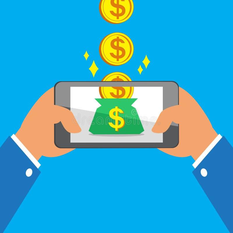 Handen die slimme telefoon houden die grote muntstukken verdienen aan geldzak stock illustratie