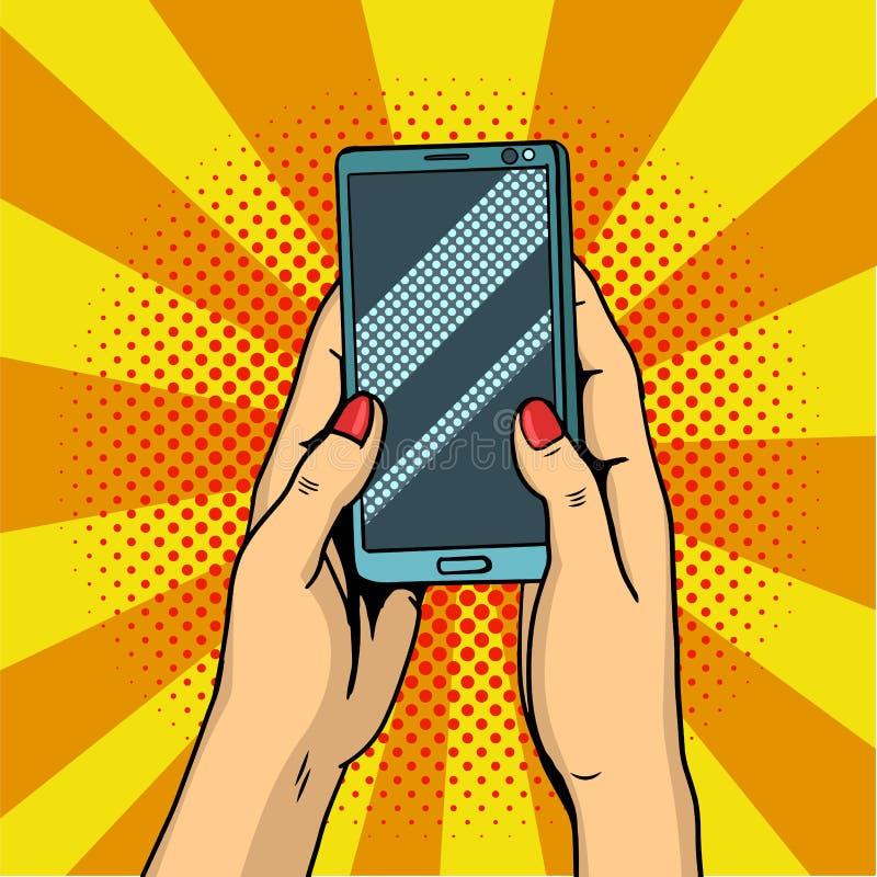 Handen die smartphonepop-art houden De vrouwelijke handen houden een mobiele telefoon Illustratie royalty-vrije stock afbeelding