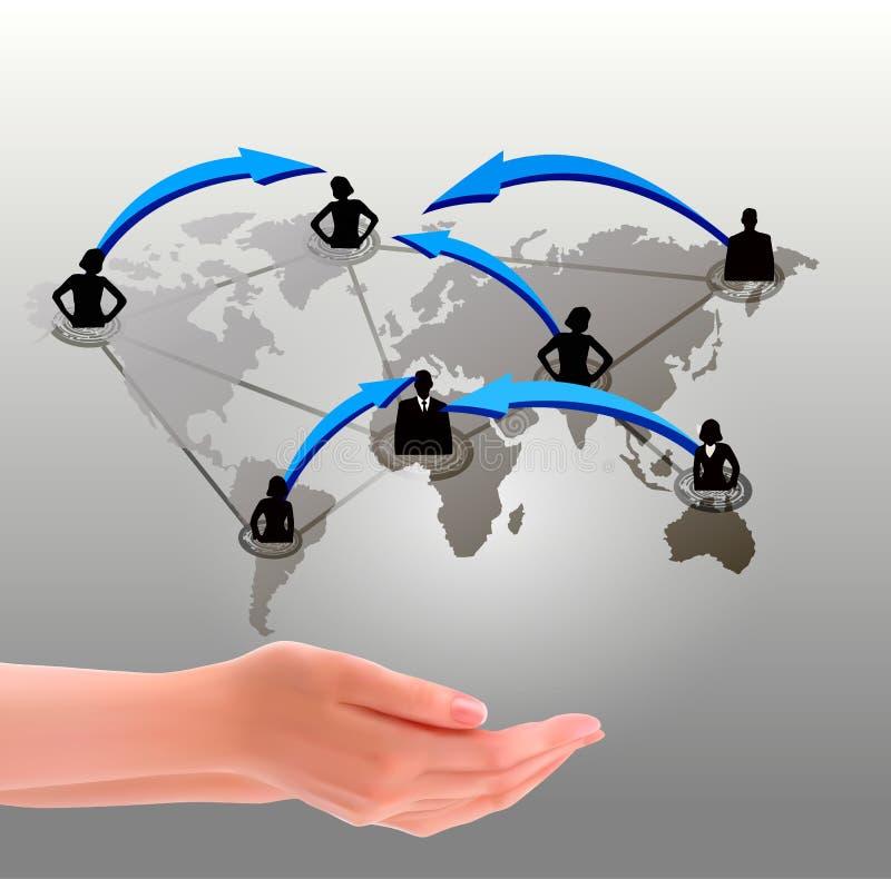 Handen die sociaal netwerk houden royalty-vrije illustratie