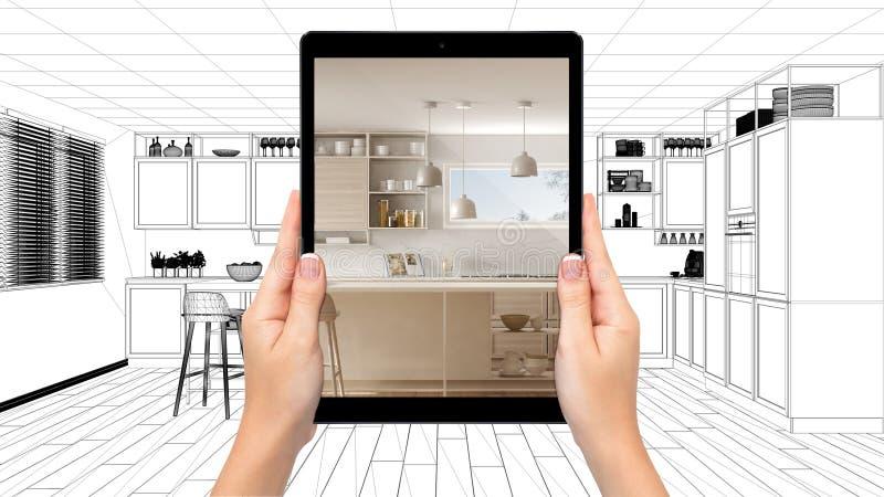 Handen die tablet houden die moderne witte en houten keuken tonen Blauwdrukcad schetsachtergrond, vergroot werkelijkheidsconcept, vector illustratie
