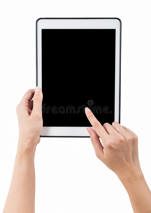 Handen die tablet verticale witte achtergrond houden gebruik het knippen klopje royalty-vrije stock afbeelding