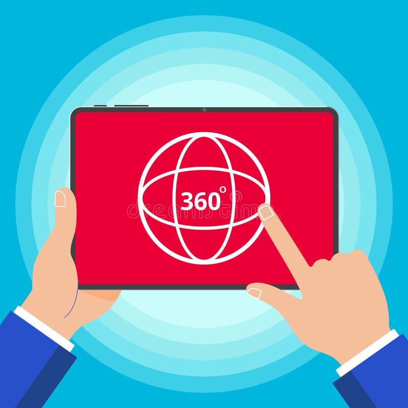 Handen die tabletapparaat met 360 van het het teken van de vlakke ontwerp van het hoek houden pictogram de stijl vectordiegraden  royalty-vrije illustratie