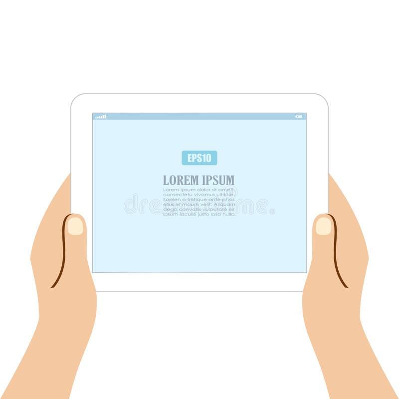 Handen die tabletcomputer houden royalty-vrije illustratie