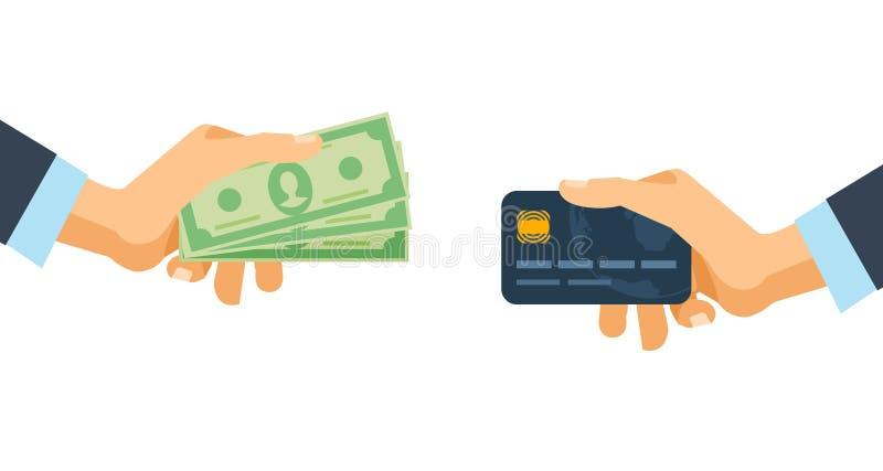 Handen die van het krediet plastic kaart en geld rekeningen houden Financiële transacties royalty-vrije illustratie