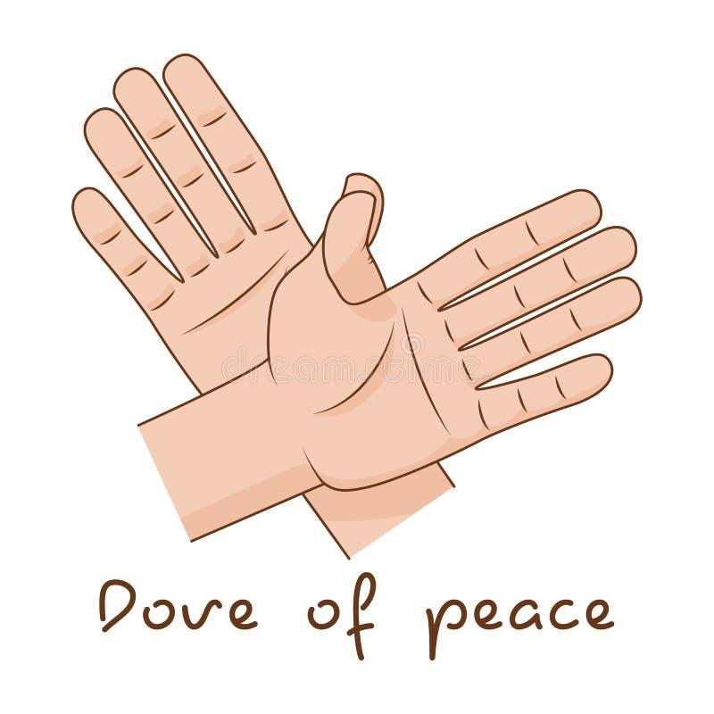 Handen die vlieg van vogel maken Duif van het creatieve idee van het vredesteken Vector illustratie vector illustratie