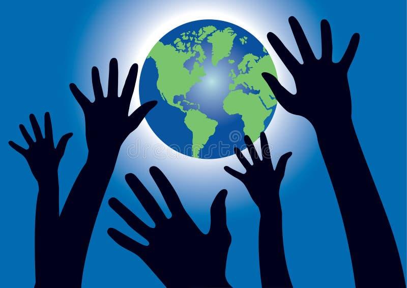 Handen die voor de Wereldbol bereiken stock illustratie