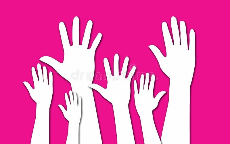 Handen die voor participatie opheffen royalty-vrije illustratie