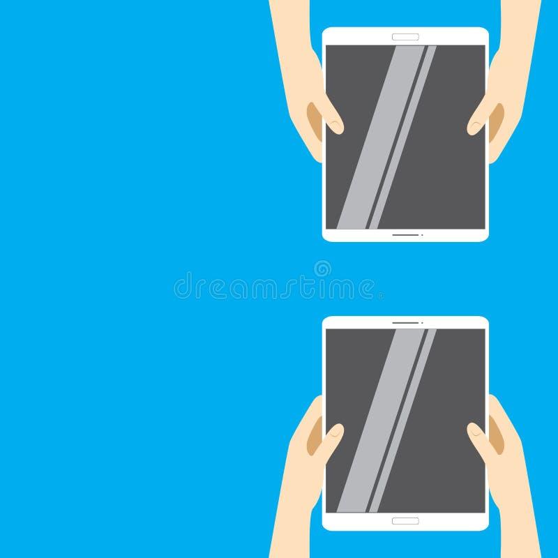 Handen die witte tabletcomputers op een blauwe achtergrond houden Vectorillustratie in vlak ontwerp royalty-vrije illustratie
