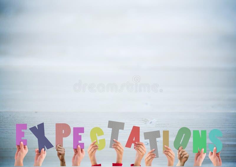 Handen die woordverwachtingen houden stock afbeelding